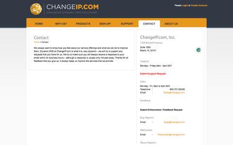 Screenshot of Contact Page changeip.com - Contact | ChangeIP.com - captured Sept. 22, 2014