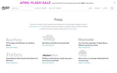 Screenshot of Press Page raise.com - Press - Raise - captured April 19, 2019