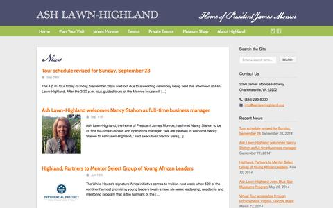 Screenshot of Blog ashlawnhighland.org - Ash Lawn-Highland  – Blog - captured Sept. 30, 2014