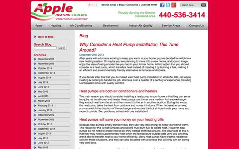 Screenshot of Blog appleheating.com - Apple Heating & Cooling Blog | Northeastern Ohio Heating & Air Conditioning Company - captured Oct. 4, 2014