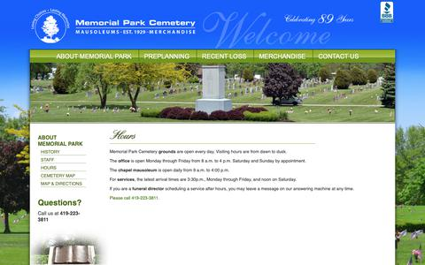 Screenshot of Hours Page limamemorialpark.com - Hours - Memorial Park Cemetery - captured Oct. 24, 2018