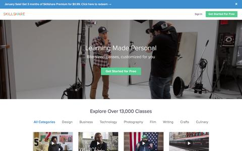 Screenshot of Home Page skillshare.com - Online Classes by Skillshare   Start for Free Today - captured Jan. 19, 2017