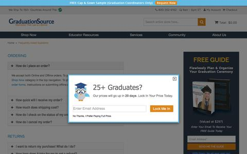 Screenshot of FAQ Page graduationsource.com - Frequently Asked Questions | GraduationSource - captured July 15, 2016