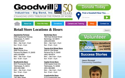 Screenshot of Locations Page goodwillbigbend.org - Locations | Goodwill Industries – Big Bend, Inc. - captured Jan. 31, 2016