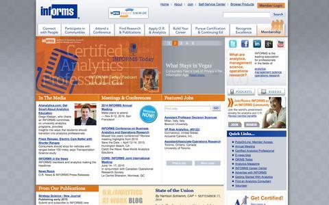 Screenshot of Home Page informs.org - IOL Home - INFORMS - captured Sept. 23, 2014