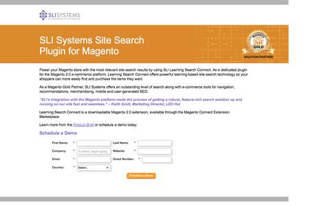 Screenshot of Landing Page sli-systems.com - SLI Systems Site Search Plugin for Magento - captured May 4, 2016