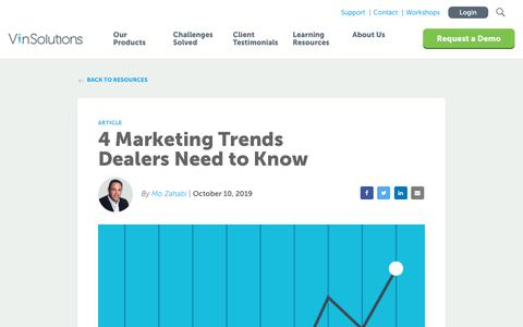 Screenshot of Blog vinsolutions.com - VinSolutions - 4 Marketing Trends Dealers Need to Know - captured Dec. 3, 2019