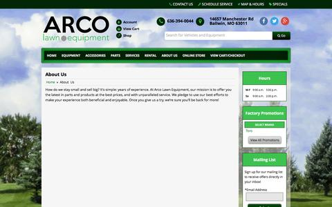 Screenshot of About Page arcolawn.com - About Us ARCO Lawn Equipment Ballwin, MO 636-394-0044 - captured Feb. 7, 2016