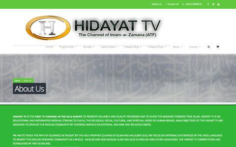 Screenshot of About Page hidayat.tv - About Us |  Hidayat TV - captured Oct. 2, 2014