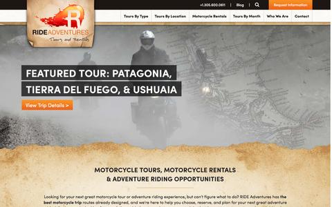 Screenshot of Home Page rideadv.com - Motorcycle tours, Motorcycle rentals, Adventure Riding & Travel - captured Feb. 15, 2016