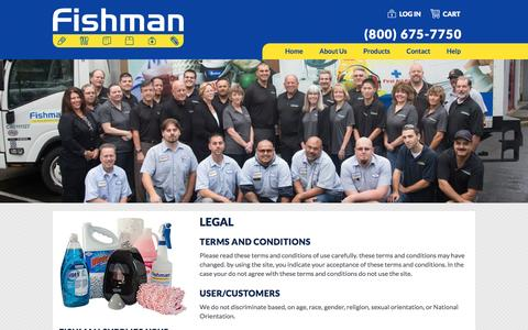 Screenshot of Terms Page fishmansupply.com - Legal | Fishman Supply - captured Nov. 25, 2016