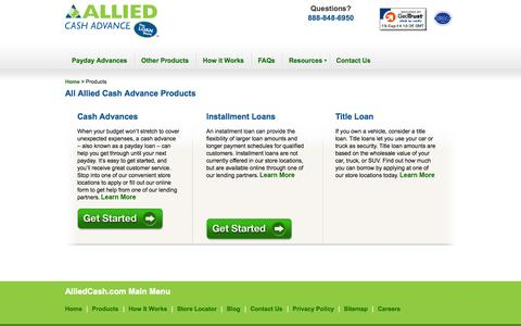 Screenshot of Products Page alliedcash.com - Cash Advance Products - Cash Advance Loans | Allied Cash Advance - captured Sept. 19, 2014