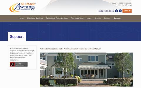 Screenshot of Support Page nuimageawnings.com - Support - NuImage Awnings - captured March 27, 2016