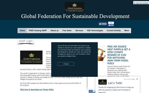 Screenshot of Home Page gfsd.co.uk - The Global Federation For Sustainable Development. FSD - captured Oct. 21, 2018
