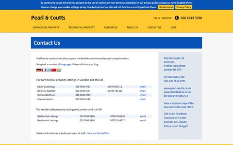 Screenshot of Contact Page pearl-coutts.co.uk - Commercial property agent London UK - captured Nov. 1, 2014