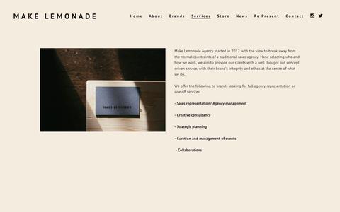 Screenshot of Services Page squarespace.com - Services — MAKE LEMONADE - captured Sept. 11, 2014
