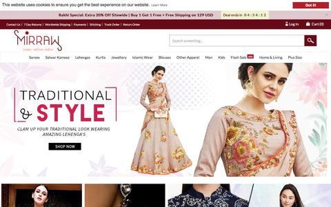 Screenshot of Home Page mirraw.com - Online Shopping Sites for Women, Indian Fashion Clothes - Mirraw - captured Aug. 23, 2018