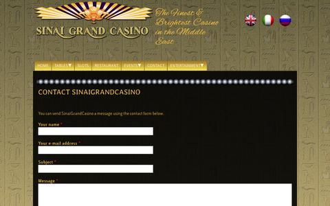Screenshot of Contact Page sinaigrandcasino.com - Contact SinaiGrandCasino | Sinai Grand Casino - captured Oct. 6, 2014
