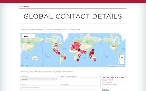 Screenshot of Contact Page labosuisse.com - Global Contact Details | Labo Suisse - captured Dec. 13, 2018