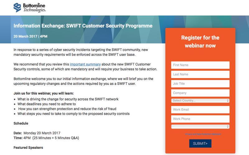 Information Exchange: SWIFT Customer Security Framework