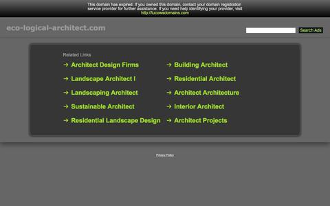Screenshot of Home Page eco-logical-architect.com - Eco-Logical-Architect.com - captured Aug. 14, 2017