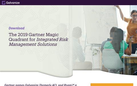 Screenshot of Landing Page wegalvanize.com - Download the 2019 Gartner Magic Quadrant for Integrated Risk Management - captured Nov. 29, 2019