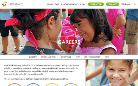 Screenshot of Jobs Page back2back.org - Careers - Global Orphan Care | Back2Back Ministries - captured Oct. 5, 2018