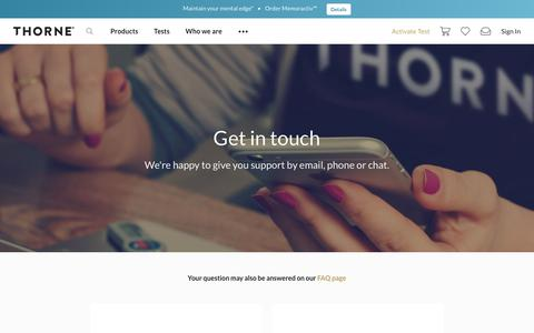 Screenshot of Contact Page thorne.com - Contact Us | Thorne - captured July 15, 2019
