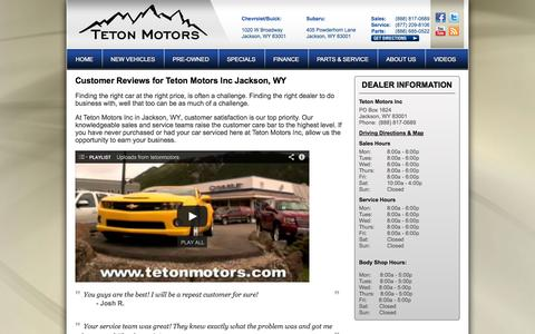 Screenshot of Testimonials Page tetonmotors.com - Buick Chevrolet and Subaru Jackson, WY | Teton Motors | New & Used Car Dealer - captured Oct. 7, 2014