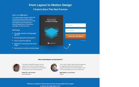 Screenshot of Landing Page lemonstand.com - Website Design: From Layout to Motion Design -  5 Experts Share Their Best Practices | Free PDF eBook - captured Feb. 8, 2017