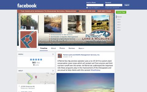 Screenshot of Facebook Page facebook.com - Patriot Land and Wildlife Management Services, Inc. - Dickerson, MD - Professional Services | Facebook - captured Oct. 22, 2014