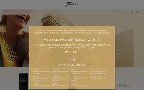 Screenshot of Products Page freixenet.com captured March 11, 2016