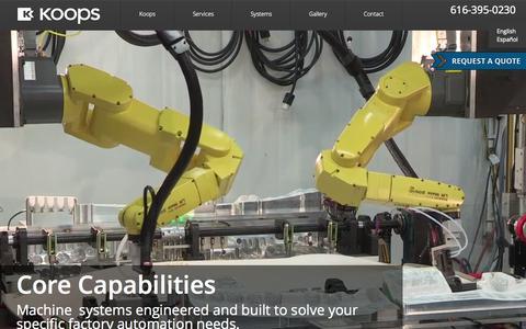 Screenshot of Home Page koops.com - Koops - Factory Automation Systems - captured Nov. 16, 2015