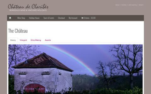 Screenshot of About Page claribes.com - The Château - Château de Claribès - Organic Bordeaux Wine Estate - captured Jan. 28, 2016
