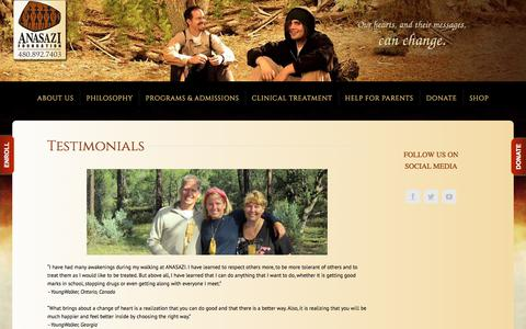 Screenshot of Testimonials Page anasazi.org - Testimonials – ANASAZI Foundation - captured May 31, 2018