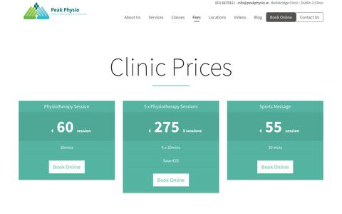 Screenshot of Pricing Page peakphysio.ie - Pricing | Peak Physio - captured July 16, 2018