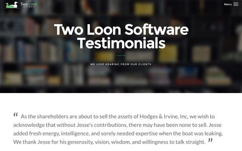 Screenshot of Testimonials Page twoloonsoftware.com - Two Loon Software - Testimonials - captured Jan. 11, 2016