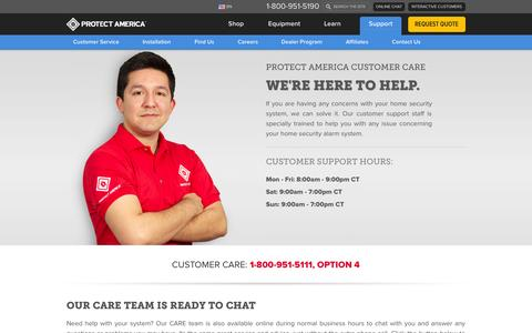 Screenshot of Support Page protectamerica.com - Support |  Home Security Systems | Home Alarm | GE Security - captured Oct. 30, 2014