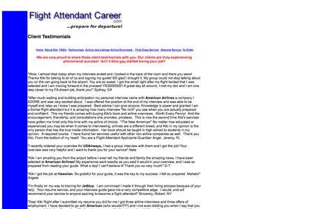 Screenshot of Testimonials Page flightattendantcareer.com - Flight attendant jobs and major airline opportunities! - captured Nov. 2, 2014
