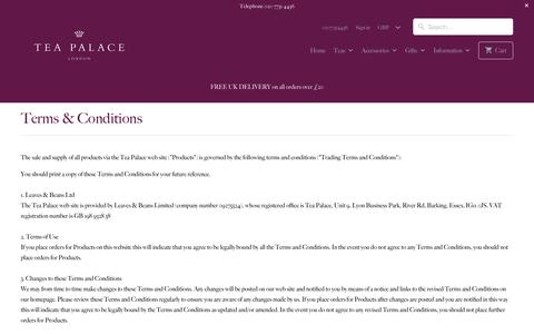Screenshot of Terms Page teapalace.co.uk - Terms & Conditions - Tea Palace - captured Dec. 6, 2016