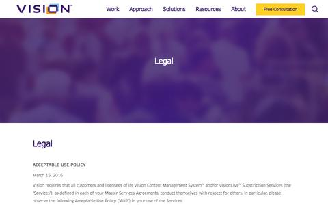 Screenshot of Terms Page visioninternet.com - Vision : Legal - captured June 30, 2016