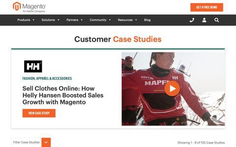 Screenshot of Case Studies Page magento.com - The Best eCommerce Sites | Magento Commerce Case Studies - captured Dec. 13, 2018