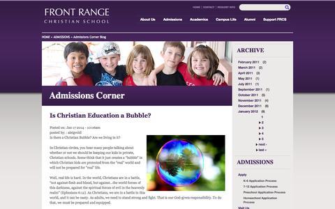 Screenshot of Blog frcs.org - Admissions Corner   Front Range Christian School - captured Oct. 6, 2014