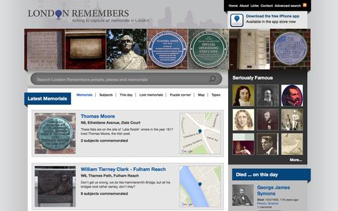 Screenshot of Home Page londonremembers.com - London Remembers, Aiming to capture all memorials in London - captured March 9, 2016