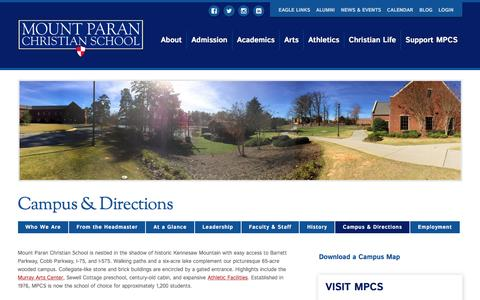 Screenshot of Contact Page Maps & Directions Page mtparanschool.com - Campus & Directions to MPCS - captured Jan. 10, 2017