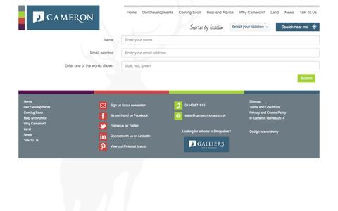 Screenshot of Signup Page cameronhomes.co.uk - New Build Homes from Cameron Homes - captured Oct. 1, 2014