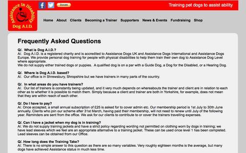 Screenshot of FAQ Page dogaid.org.uk - FAQ - Dog A.I.D. - captured Nov. 24, 2016