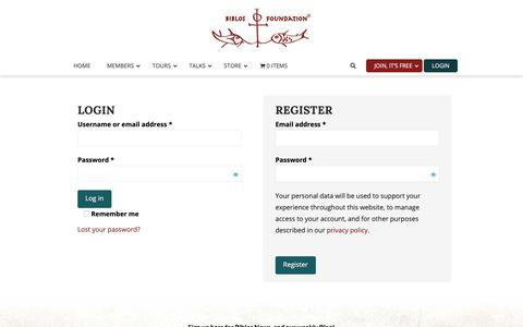 Screenshot of Login Page biblosfoundation.org - My Account - Biblos Foundation - captured Dec. 9, 2018
