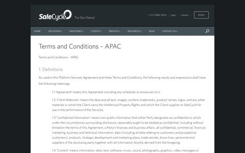 Screenshot of Support Page salecycle.com - Terms and Conditions - APAC - captured Nov. 17, 2016