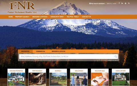 Screenshot of Home Page fnrhomes.com - Klamath Falls OR Real Estate | Klamath Falls OR Homes for Sale | Fisher Nicholson Realty, LLC - captured Oct. 10, 2018